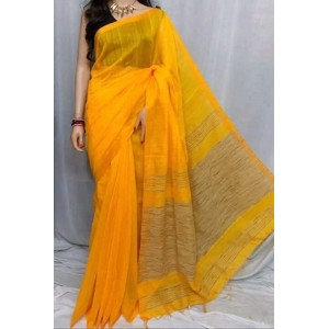 New Adrika Alluring Women Cotton Silk Saree Yellow And Gray