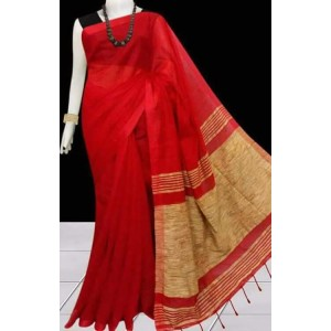 New Adrika Alluring Women Cotton Silk Saree Red And Gray