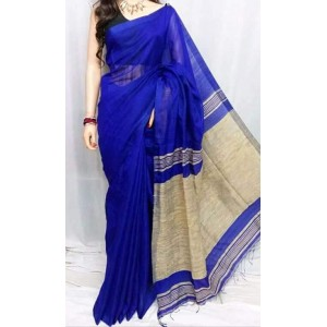 New Adrika Alluring Women Cotton Silk Saree Blue And Gray