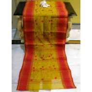 Bengal Handloom Cotton Saree with Embroidery Work in Corn Yellow and Red