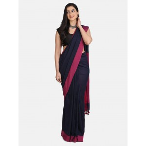 Bengal Phulia Shantipur Navy Blue Plain Work Khadi Cotton Handloom Saree With Blouse