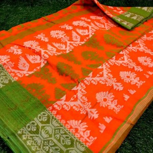 Bengal Phulia Shantipur Pure Cotton Tant Saree Orange Color with all over Jamdani work