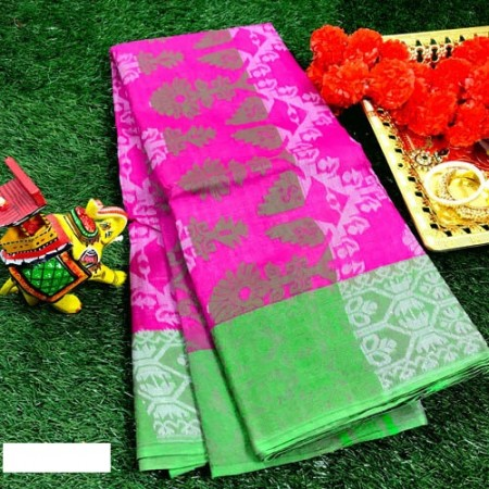 Bengal Shantipur Phulia Tant Saree (Pink color) with all over woven floral design