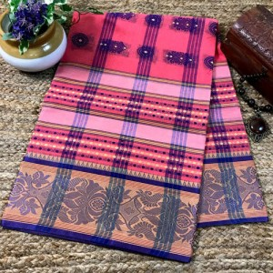 Bengal Tangail Tant Pure Cotton Saree (Rose Pink color) LENGTH Approx. 5.5 meters