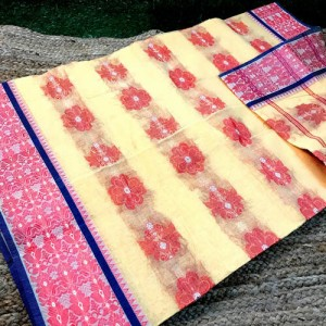 Bengal Tangail Tant Creame & Red Cotton Saree