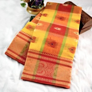 Bengal Tant Cotton Saree (Yellow and red color) with all over motif work