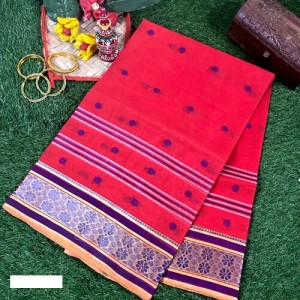 Bengal Tant Cotton Women Saree with Woven Motifs