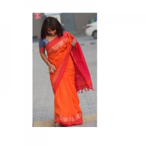 Bengal Handloom Cotton saree Orange Color