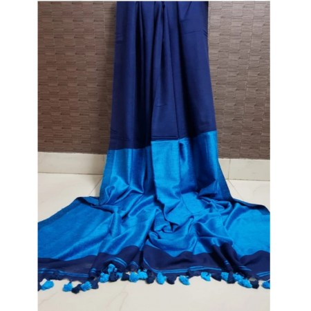 New Stylish Cotton Silk Women Saree (Blue and Dark Blue)