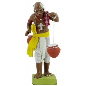 Krishnanagar Handmade Clay Human Figure Gift & Decor Indian Curd Seller