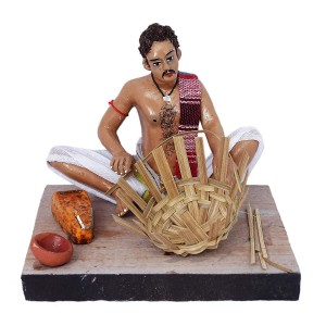 Krishnanagar Handmade Clay Gift & Decor Sitting Human Figure (Basket Maker)