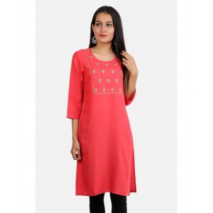 DHUNI Rayan Embroidered Straight Kurta Round Neck Coral Color