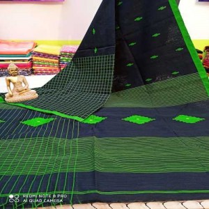 Bengal Handloom Tant Cotton Saree (Green Color)