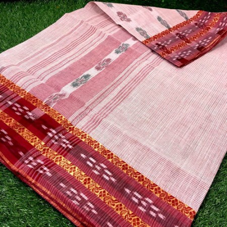 Bengal Ikkat Tant White and Red Cotton Saree