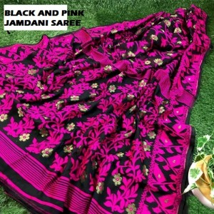 Jamdani Saree ( Black and Pink Color ) All Over Work & Exquisite Pallu. Free Cash On Delivery Pan India
