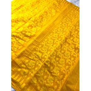 Jamdani Saree Yellow Color with Floral work. Approx. 5.5 meters Length