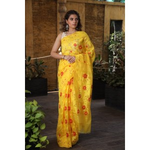 Jamdani Saree Yellow Color and full body red weaving work