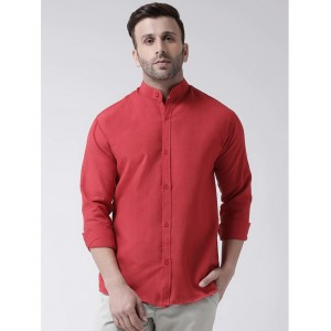 KHADIO Cotton Stripes Casual Regular Fit Shirt Red Color