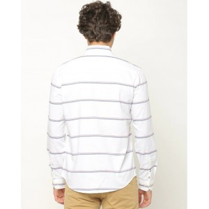 NETPLAY Cotton Stripes Casual Regular Fit Shirt White Color