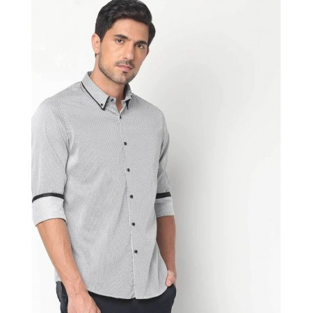 NETPLAY Cotton Stripes Casual Slim Fit Shirt Gray Color