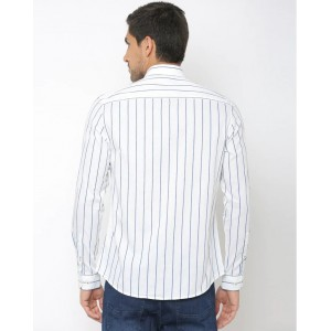 NETPLAY Cotton Stripes Casual Slim Fit Shirt White Color