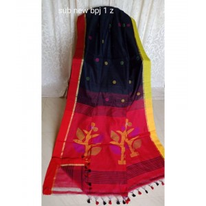 New Red And Black Pallu Jamdani Work Handloom Cotton Saree Length 6.5 meter With Blouse pieces
