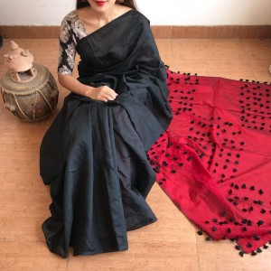 Cotton Silk Black and Red PomPom Saree With Black Blouse Piece