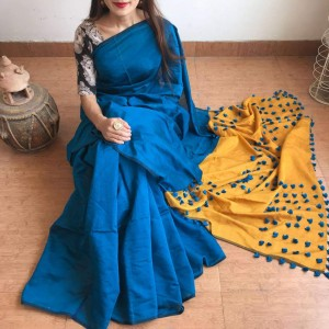 Cotton Silk Blue and Yellow PomPom Saree With Blue Blouse Piece