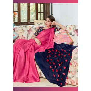 Cotton Silk Pink and Black PomPom Saree With Black Blouse Piece