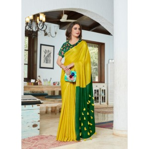 Cotton Silk Golden and Green PomPom Saree With Green Blouse Piece