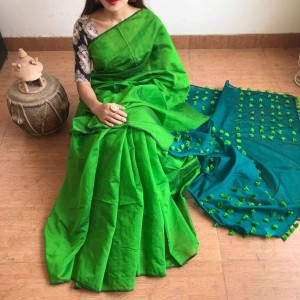Cotton Silk Light Green and Dark Green PomPom Saree With Dark Green Blouse Piece