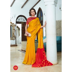 Cotton Silk Orange and Dark Red PomPom Saree With Red Blouse Piece