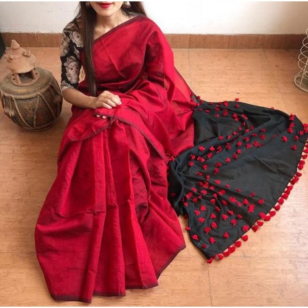 Cotton Silk Red and Black PomPom Saree With Black Blouse Piece