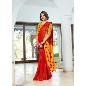 Cotton Silk Red and Dark Yellow PomPom Saree With Yellow Blouse Piece