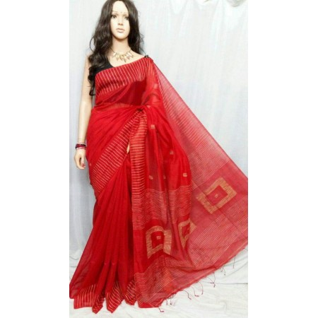 Red Ghicha Pallu Box Silk Cotton Saree With Unstitched blouse fabric (Free)