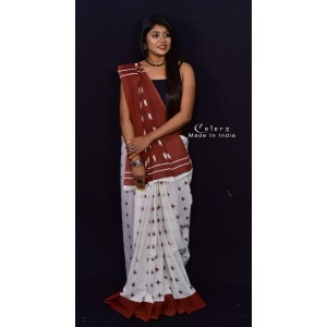 New Slub Linen Shivori Print Saree (Red and White)