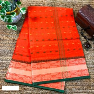 Bengal Tangail Tant Cotton Saree (Orange color)