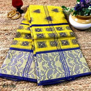 Bengal Tangail Tant Cotton Saree Yellow Color