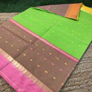 Bengal Tangail Tant cotton Saree Green, Light Brown & Pink Color