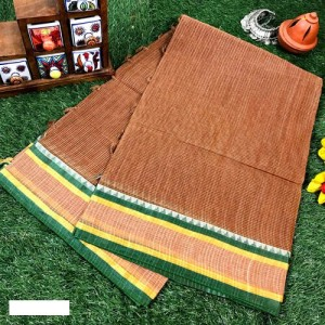 Bengal Tant Woven check Brown And Green Cotton Saree