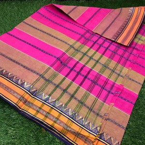 Tant Cotton Saree Pink & Sand Brown Color All over handwoven