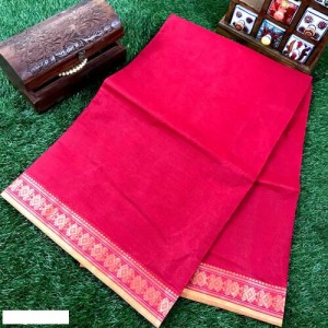 Tant Cotton Saree Red Color With Woven Border