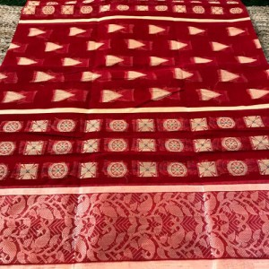 Bengal Tangail Tant Pure Cotton Saree (Meroon color)
