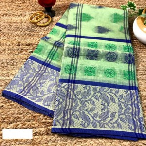 Bengal Tangail Tant Pure Cotton Saree (Pista Green & Blue color)