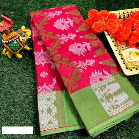 Bengal Red Tant saree with all over woven design
