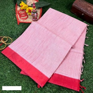 Bengal Tant Woven check White and Red Cotton Saree