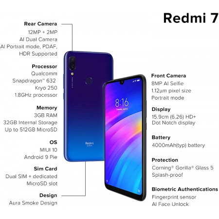 Redmi 7 ( Eclipse Black, 3GB RAM, 32GB Storage ) Very Good Used Condition with 6 Months Seller Warranty