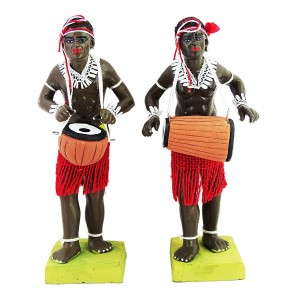 Krishnanagar Handmade Clay Human Saotal Figure Gift & Decor Tribal Drummer Couple