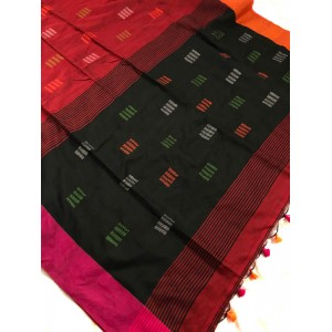 Bengal Khadi Cotton Red & Black Handloom Saree