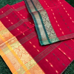 Bengal Tant saree with woven design & Ganga Jamuna Border